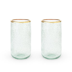 Seaside: Sea Foam Bubble Glass Tumbler Set by Twine - Rare Crush