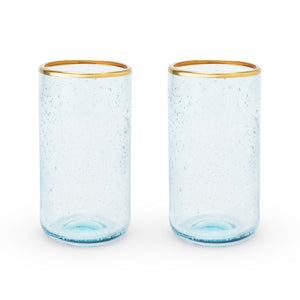 Seaside: Aqua Bubble Glass Tumbler Set by Twine - Rare Crush