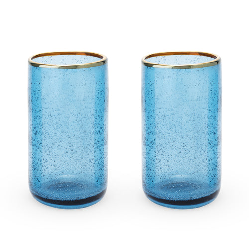 Seaside: Deep Blue Bubble Glass Tumbler Set by Twine - Rare Crush