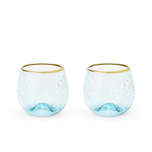 Seaside: Aqua Bubble Stemless Wine Glass Set by Twine - Rare Crush