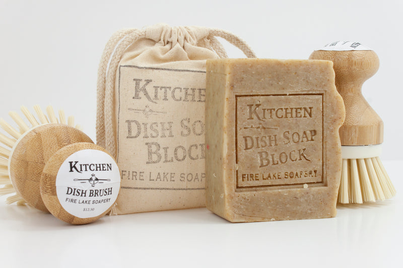 Kitchen Soap Block Box with brush