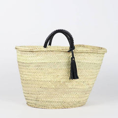 Straw French Basket with Leather Tassel