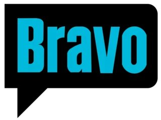 Bravo in blue font inside the black speech balloon with white background