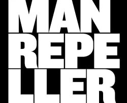 Man Repeller in white capital letters and a black background