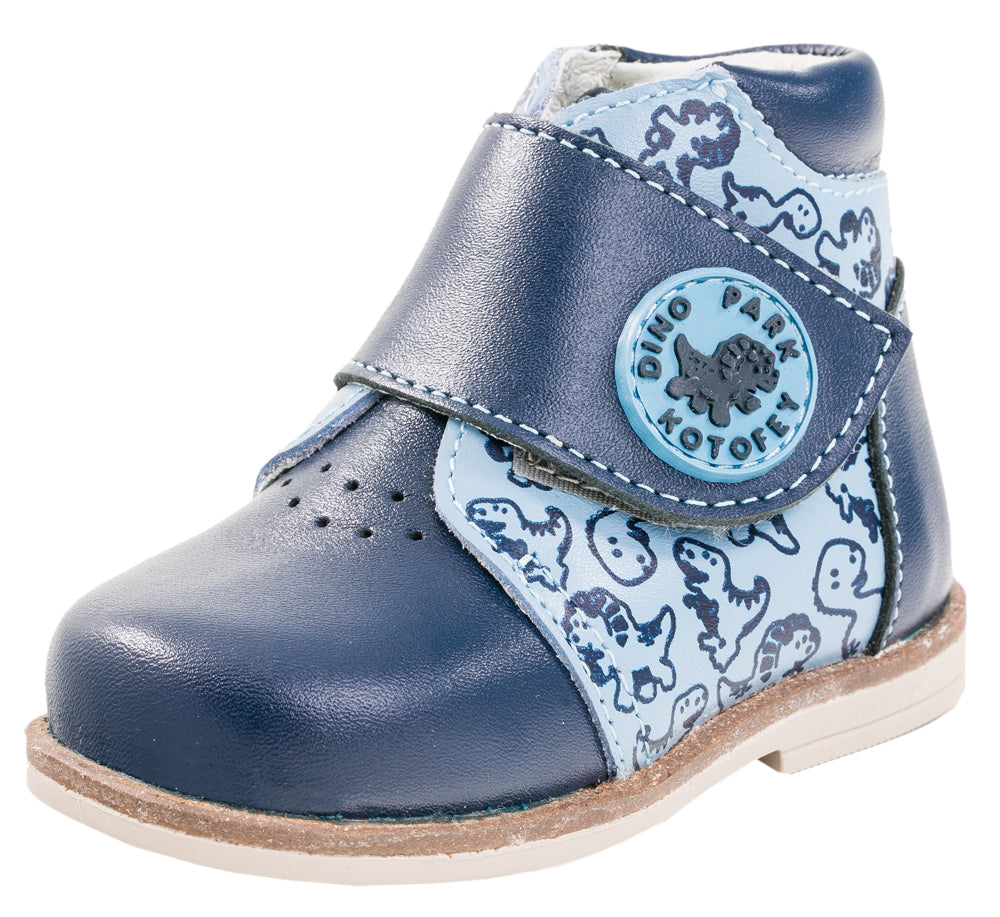 Fall/Spring Boys Leather Shoe with Dinosaurs and Velcro Strap 052122-22
