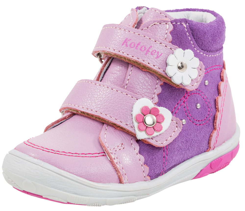 Fall/Spring Girls Leather Shoe With Flowers and 2 Velcro Strap 152112-21