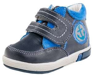 Fall/Spring Boys Leather Shoe With Anchor and Velcro Strap 152134-21