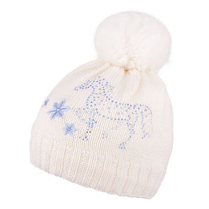Knit Hat Merino Wool With Horse Design and Rabbit Fur Ecru 3-003205