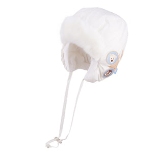 Winter Hat Waterproof With Ties Bear White 3-003709
