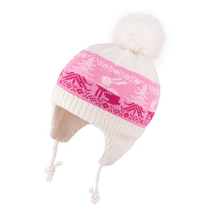 Knit Hat Merino Wool Ecru with Bunny 3-003753