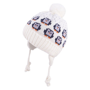 Knit Hat Merino Wool Penguin Ecru 3-003760