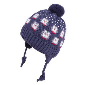 Knit Hat Merino Wool Penguin Navy 3-003760