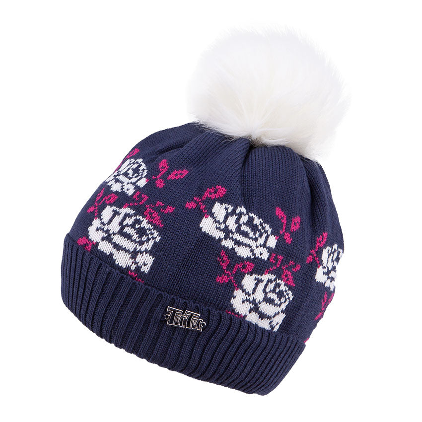 Knit Hat Merino Wool Rose Navy 3-003776