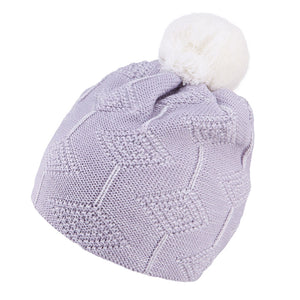 Knit Hat Merino Wool Diamond Light Grey 3-003779