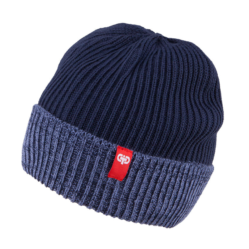 Knit Hat Merino Wool 2 Tone Navy 3-003784
