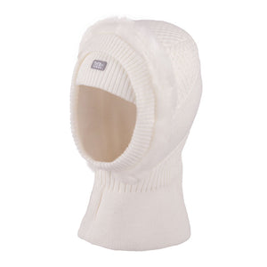 Knit Hat Balaclava With Fur Trim Ecru 3-003793