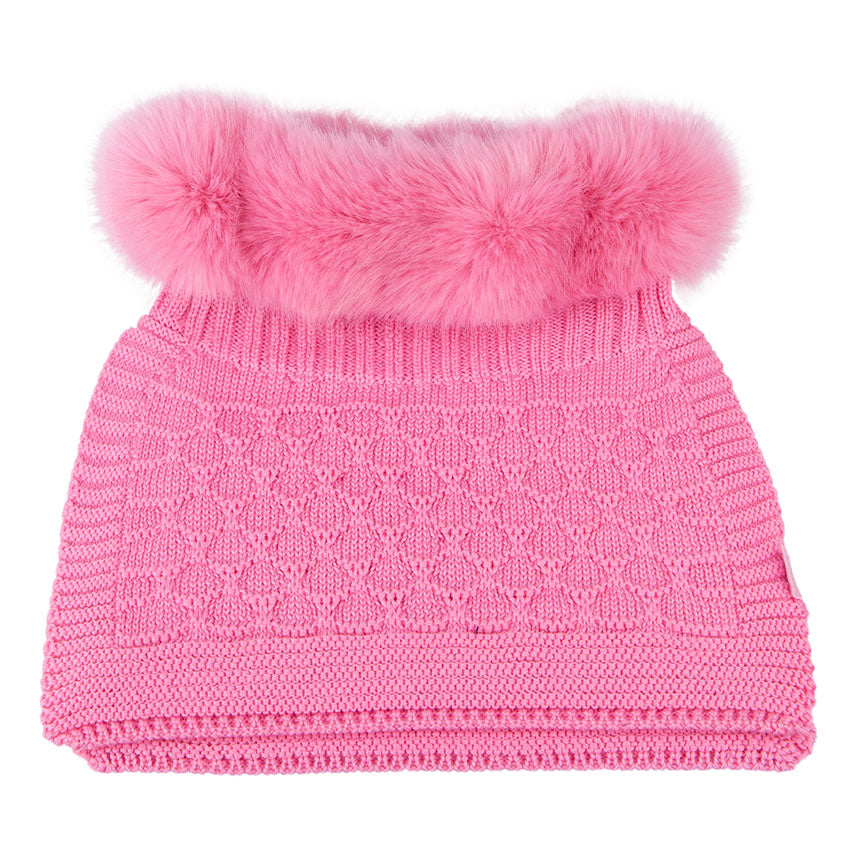 Neck Warmer Merino Wool With Fur Bright Pink 3-003822