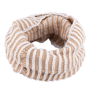 Neck Warmer Acrylic/Wool Two Tone Beige 3-003851