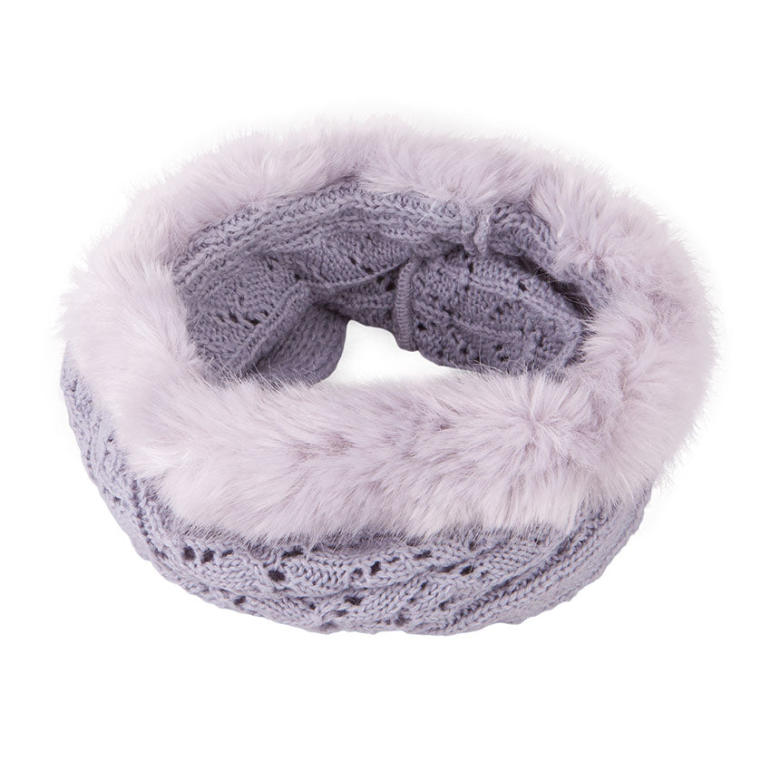 Neck Warmer Snood with Fur Top Light Grey 3-003853