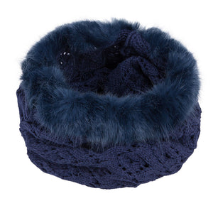 Neck Warmer Snood with Fur Top Navy 3-003853