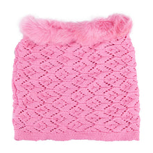Neck Warmer Snood with Fur Top Pink 3-003853