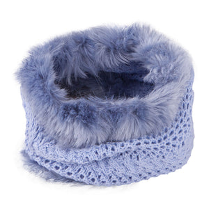 Neck Warmer Snood With Fur Top and Bottom Light Blue 3-003854