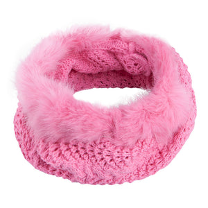 Warmer Snood With Fur Top and Bottom Pink 3-003854