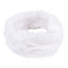 Neck Warmer Snood With Fur Top and Bottom Ecru 3-003854