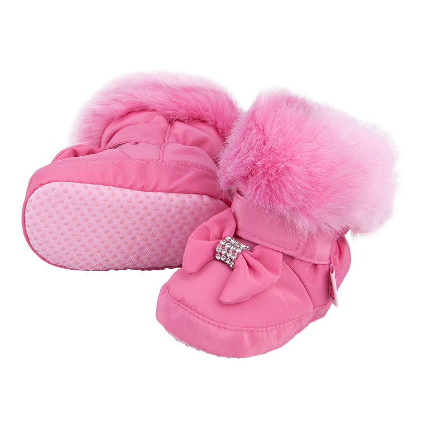 Winter Booties With Bow and Rhinestones Pink 3-003866