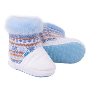 Winter Booties Knitted Blue/White 3-003888
