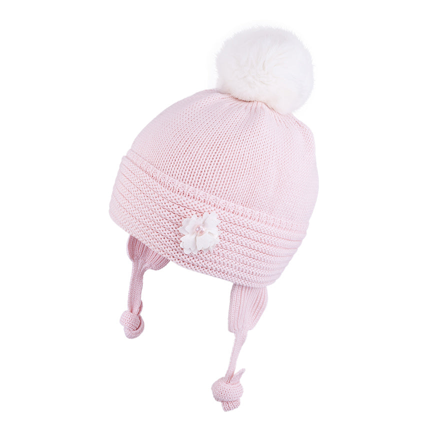 Knit Hat (Merino Wool) with Ties and Rabbit Fur Pompom Pink/White 3-004144