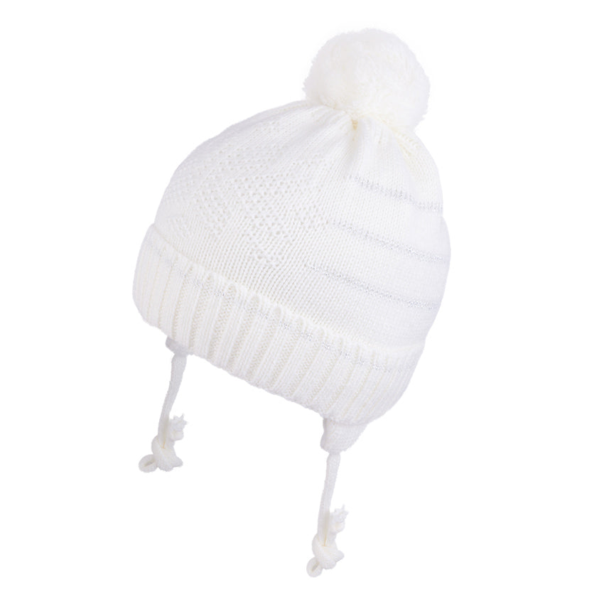 Knit Hat With Ties and Silver Trim White 3-004146