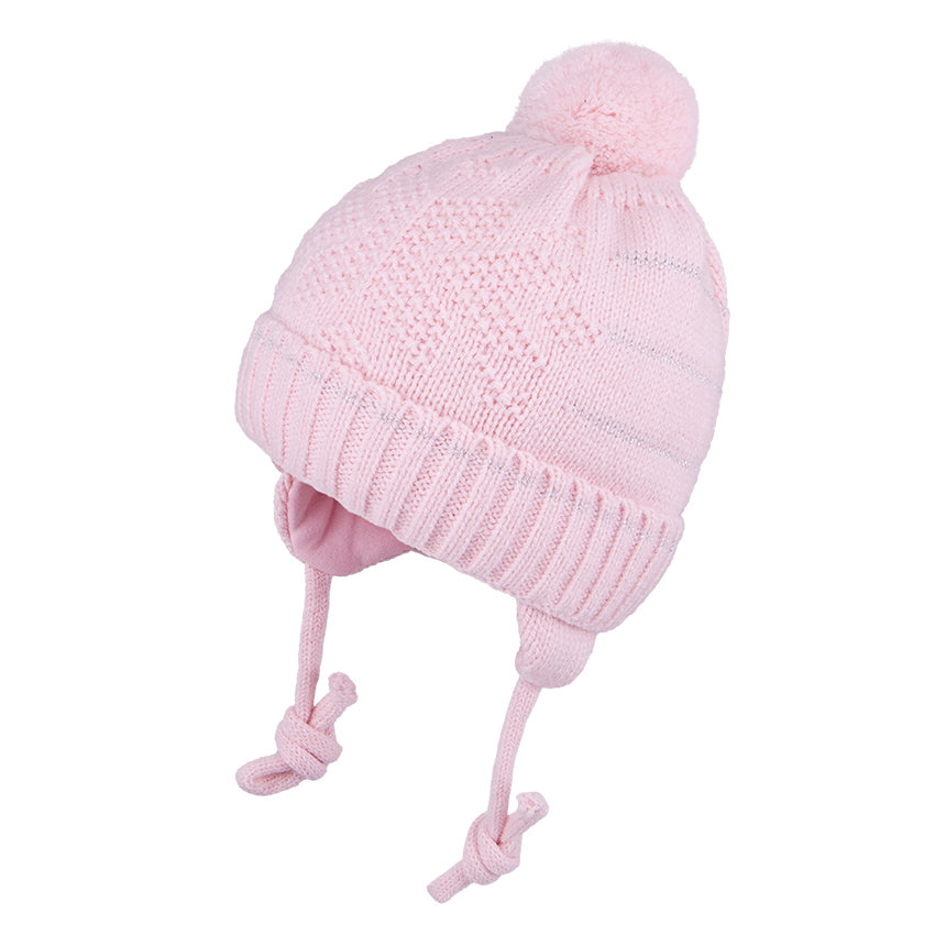 Knit Hat With Ties and Silver Trim Pink 3-004146