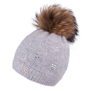 Knit Hat (Raccoon Fur Pompom) with Rabbit Fur Grey 3-004158