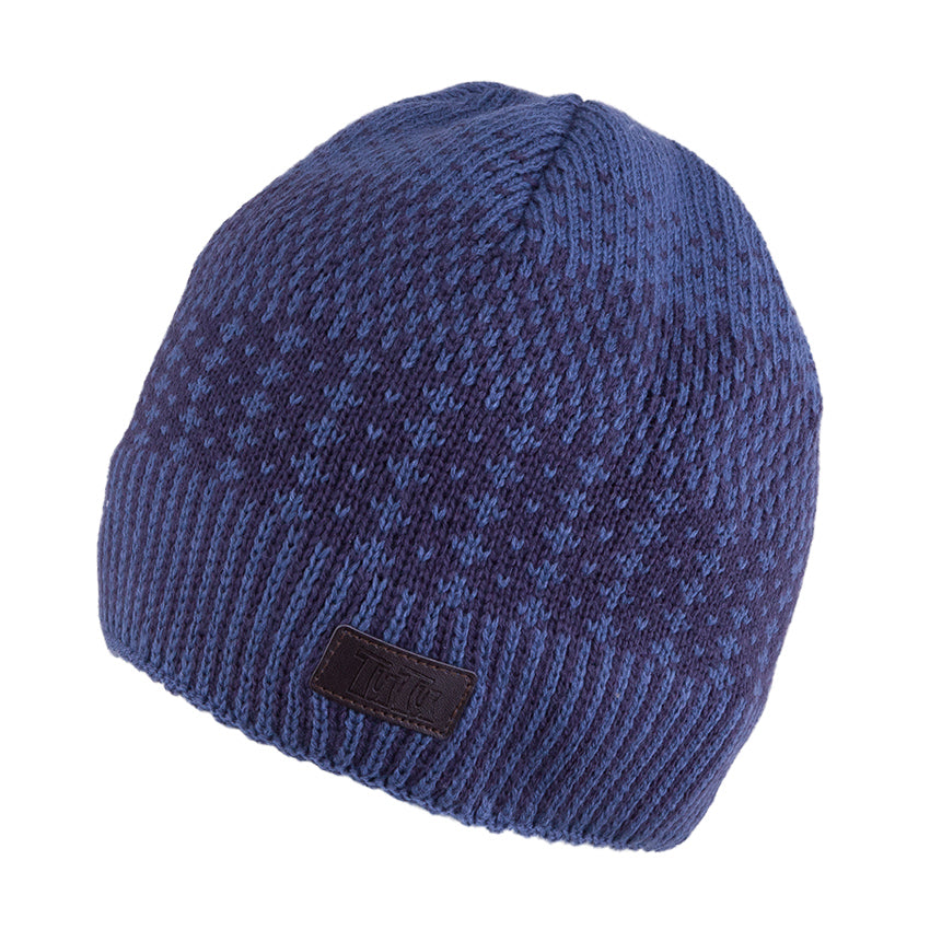 Knit Hat Blue with Snood 3-004177