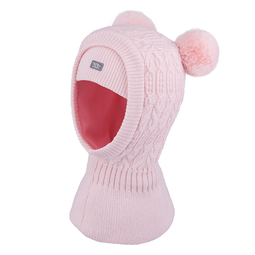 Knit Hat Balaclava with Pompom Pink 3-004187
