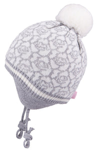 Knit Hat with Ties and Pompom Flowers Light Grey 3-004294