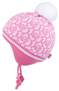 Knit Hat with Ties and Pompom Flowers Pink 3-004294