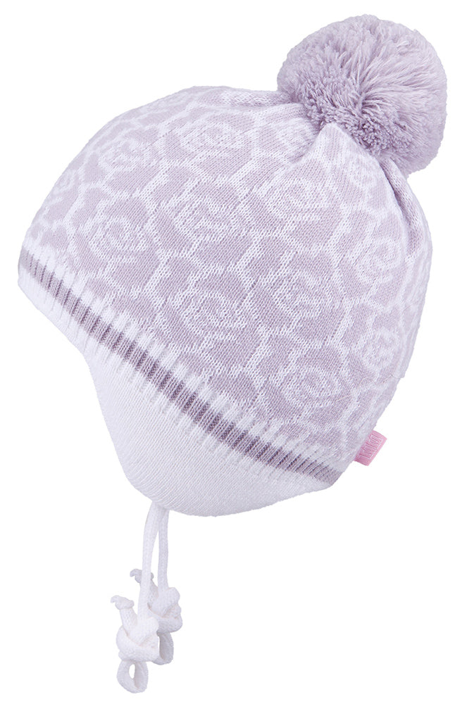 Knit Hat with Ties and Pompom Flowers White 3-004294