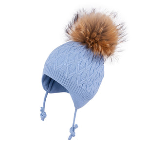 Knit Hat (Merino Wool) with Ties and Pompom (Raccoon Fur) Blue 3-004330