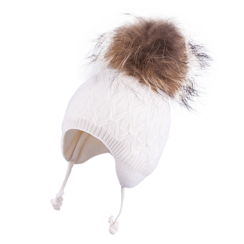 Knit Hat (Merino Wool) with Ties and Pompom (Raccoon Fur) Ecru 3-004330