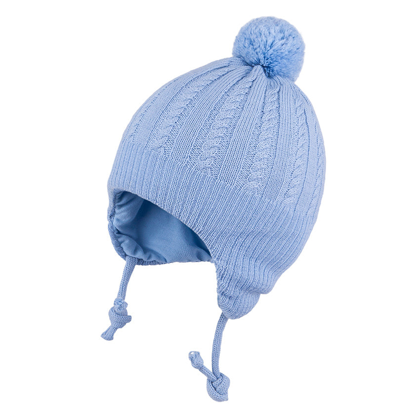 Knit Hat (Merino Wool) with Ties and Pompom Cables Blue 3-004331