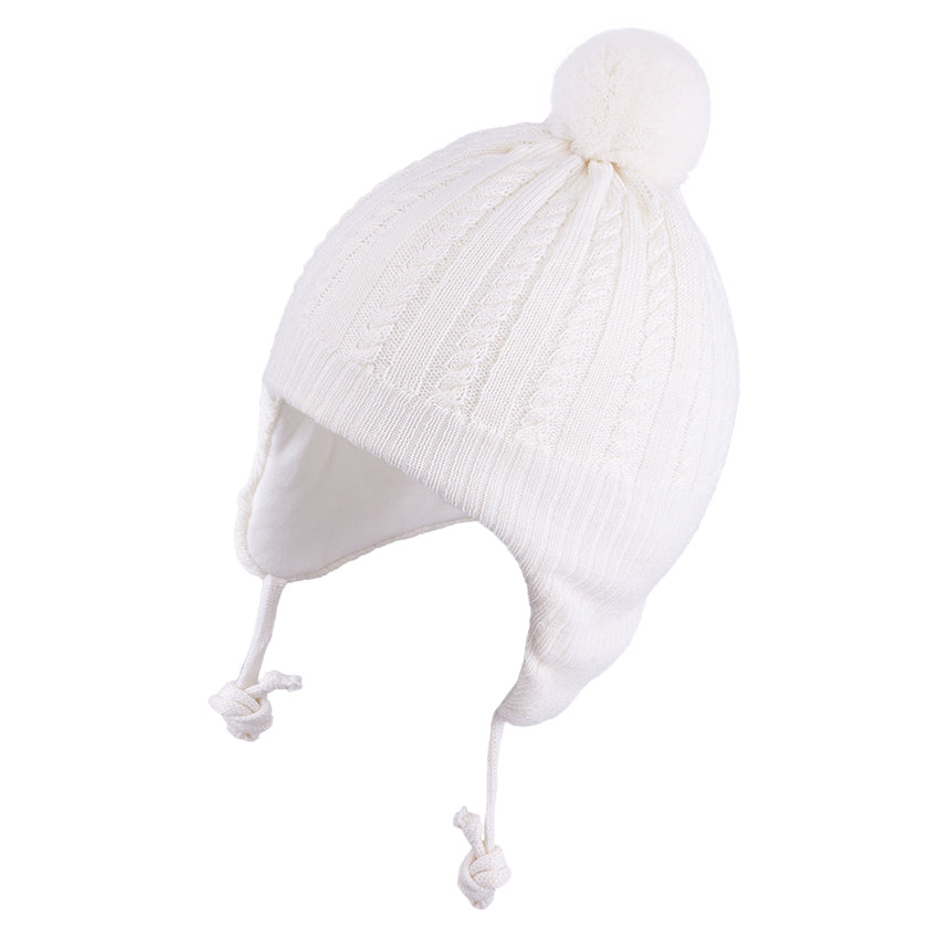 Knit Hat (Merino Wool) with Ties and Pompom Cables White 3-004331