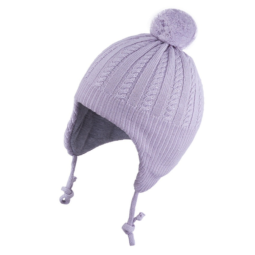 Knit Hat (Merino Wool) with Ties and Pompom Cables Grey 3-004331