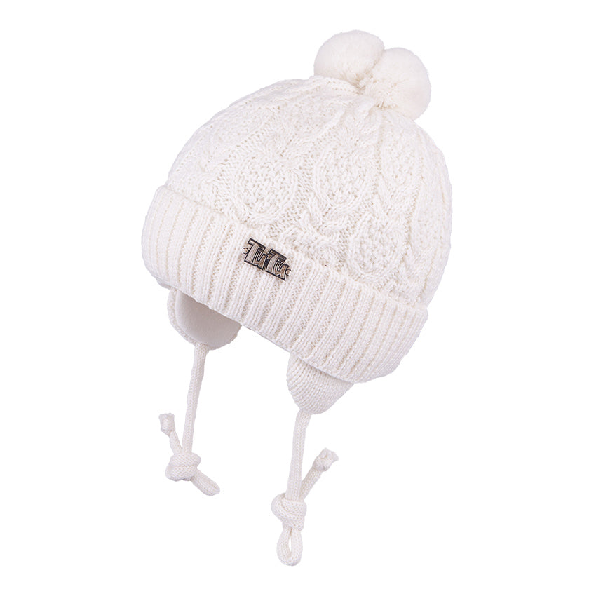 Knit Hat with Ties and Pompom Braided Ecru 3-004332