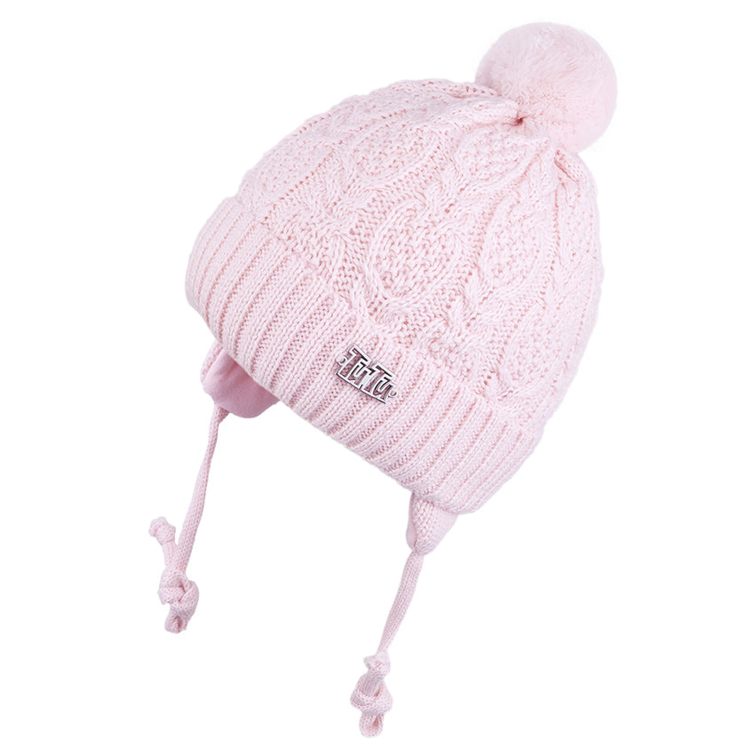 Knit Hat with Ties and Pompom Braided Light Pink 3-004332