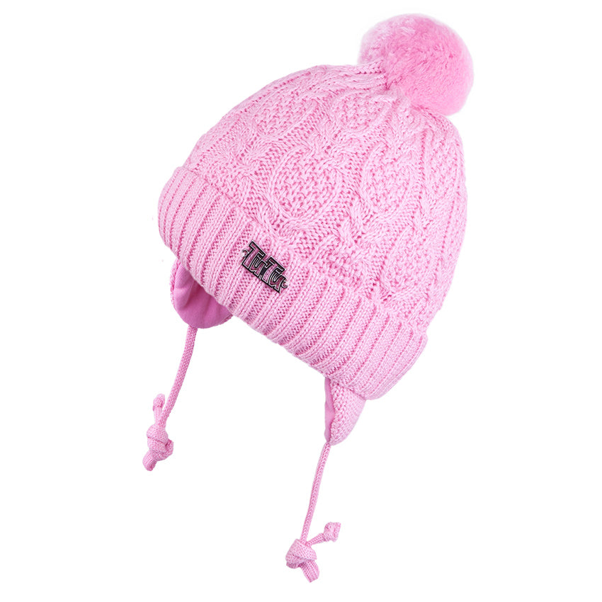 Knit Hat with Ties and Pompom Braided Pink 3-004332