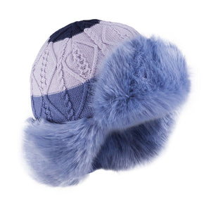 Knit Hat (Merino Wool) with Ties and Button Up Ears Blue 3-004334