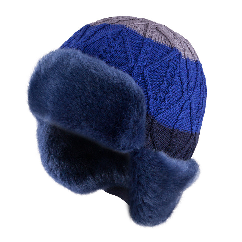 Knit Hat (Merino Wool) with Ties and Button Up Ears Navy 3-004334