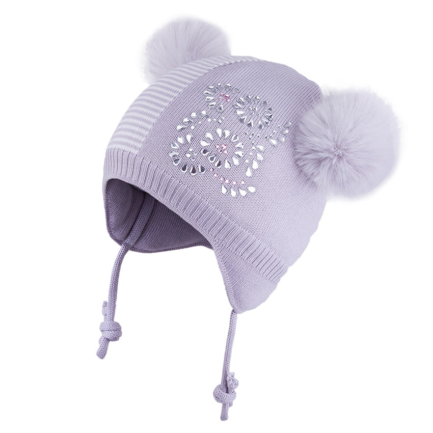 Knit hat 2 PomPoms Grey/Ecru 3-004338